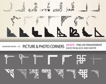 76 corner clipart - digital photo corners - damask, floral, retro, geometric elements   INSTANT DOWNLOAD  Clip Art Designs  475