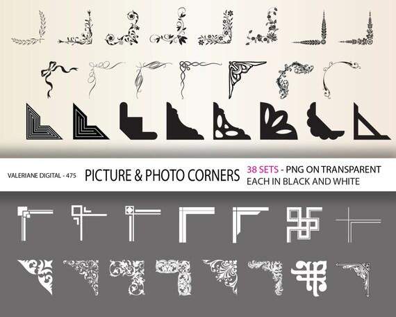 76 corner clipart - digital photo corners - damask, floral, retro, geometric elements   INSTANT DOWNLOAD  Clip Art Designs  475