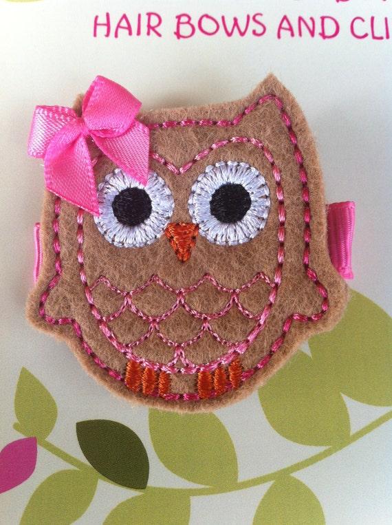 TAN HOT PINK Felt Owl Hair Clip Baby Toddlers Girls