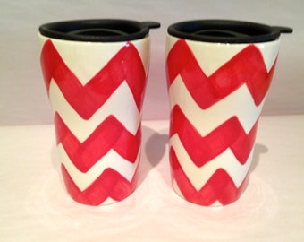 Candy Apple Red Chevron Travel Mug