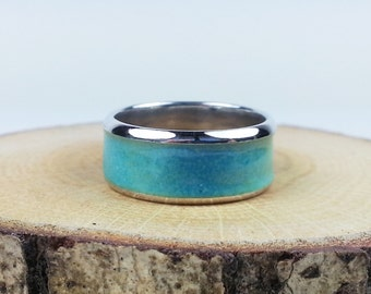 Sterling silver enamel blue ring enamel jewelry vitreous enamel fired on silver
