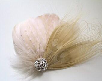 Wedding Bridal Champagne Blush Ivory Peacock Feather Rhinestone Jewel Veiling Head Piece Hair Clip Fascinator Accessory
