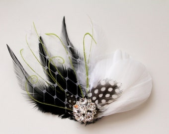Wedding Bridal Light Ivory Black Lime Green Feather Rhinestone Jewel Head Piece Hair Clip Fascinator