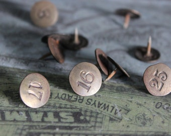 6 Vintage Brass Tacks