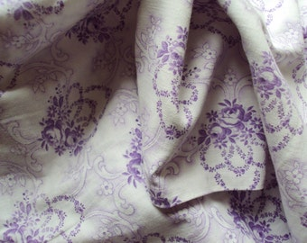 Vintage French Faded Fine Cotton Fabric Garlands of Lilac Roses and Rosebuds with Scrolls Suitable for Pillows Lavender Bags Feedsack