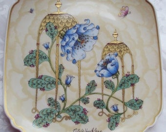 Now Reduced Vintage Ole Winther Plate Mother and Child Blue Fantasy Flowers Butterfly Hutschenreuther Limited Edition 1981 Art Nouveau