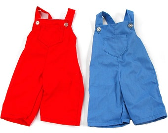 Raggedy Andy Overall Set - Vintage 1960's Red and Blue Pair of Patriotic Coveralls for Doll and Jolly Playmate Friend Nostalgic Boy Trousers
