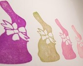 Hand Carved Rubber Stamp Chocolate Easter Bunny with Bow