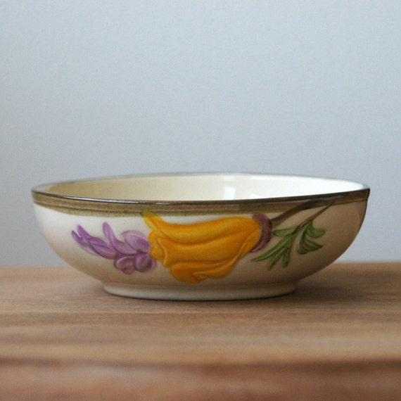 Franciscan Poppy Bowl, Small, Yellow, Purple, Vintage