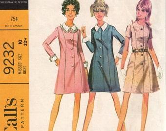 Bust 32 1/2-1968 Misses' Dress McCall's 9232 Sz 10
