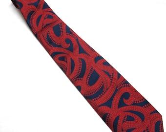 Vintage Necktie Blue Red Abstract Tie