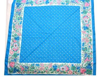 Vintage Scarf Blue Floral Polka Dot