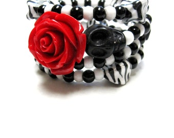 Sugar Skull Bracelet Day of the Dead Jewelry Wrap Cuff Rose Red Black White
