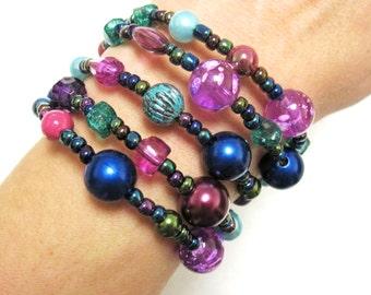 Wrap Bracelet Beaded Cuff Purple Green Blue Pink
