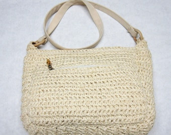 Natural Cream Tan Purse Crocheted Hobo Handbag Shoulderbag
