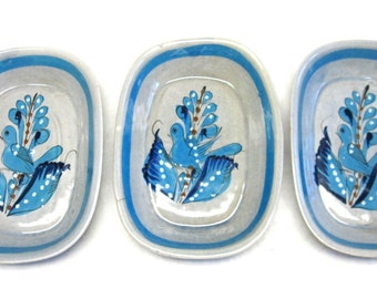 Large Serving Dish Bowl Set of Three Tonala Mexican Mexico Pottery Gray Blue Bird Handmade Painted Signed