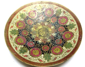 Enameled Brass Dish Decorative Rust Red Green Cream Painted Bowl