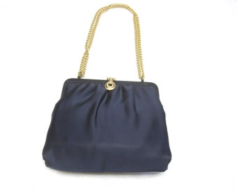 50s Midnight Blue Satin Evening Purse Handbag
