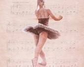Luxurious quality Ballet sleeping beauty music birthday card by Pastel Artist, Robert Antell