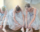Luxurious quality ballet card TYING POINTE SHOES by Pastel Artist, Robert Antell