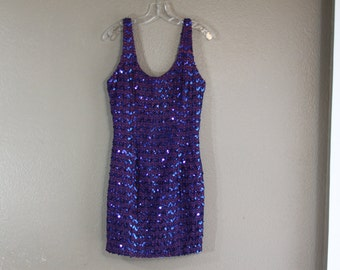 Violet wiggle dress covered in blue sequin and stitch detail- gatsby style