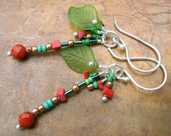 Bohemian Coral Earrings with Frosted Leaves - Boho Dangle Silver Earrings in Turquoise And Coral Red