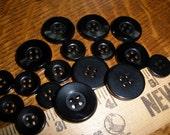 "Vintage Black Blazer Shirt Buttons choose sizes 1/2"" (20L 13.5mm) & 3/4"" (19mm 30L) wide rim 4-hole recessed sewing crafts retro bulk"