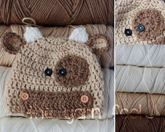 Crochet Bull Hat Newborn, Infant, Toddler, Youth, and Adult Sizes