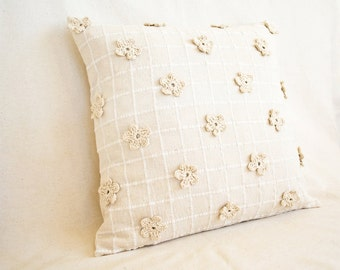 Eco Friendly Pillow Cover, 16 x 16 Natural White Cushion with Crochet Flowers, Floral Bedding, Unbleached and Undyed Cotton