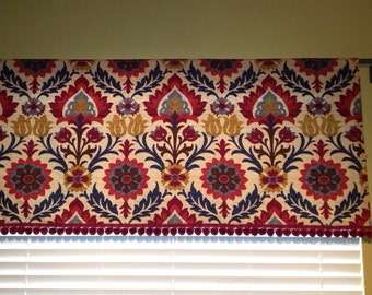 Valance in Santa Maria Gem with Decorative Fringe