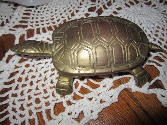 Vintage Brass Hinged Turtle Trinket Box Or By