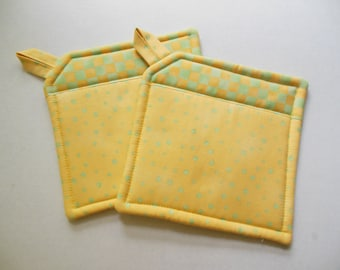 Potholders Set of Two Quilted Potholders, Pr of Potholders