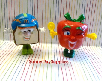 McDonald's Happy Meal Toys, Changeable Food Toys, Red Apple Tennis Player & Sandwich Man, Vintage Toys, 1990's, McDonalds Food Toys, Gifts