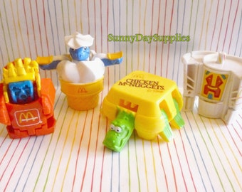 Vintage McDonalds Toys, Happy Meal toys, Fries, Drink, Chicken McNuggets, Ice Cream Cone, Changeables, 1980's,  Food Toys