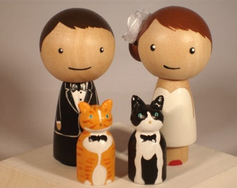 Custom Cake Toppers New Pet Topper Wedding Topper with Two Pets Kokeshi Doll Wedding Toppers Custom Cake Toppers