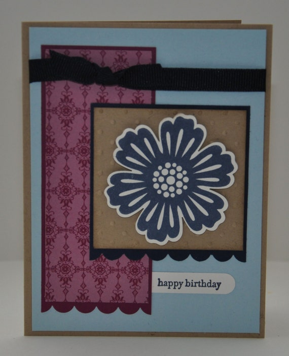 Happy Birthday Greeting Card, Navy Blue, Light Blue, Tan, Brown, Maroon, Purple, Flower, For Her, Polka Dots, Stamped, Blank Inside