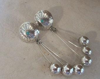 Sterling Silver Turquoise Long Dangle Earring