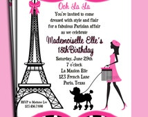 Paris Invitation Printable or Printed with FREE SHIPPING - Eiffel Tower Girl Walking Poodle