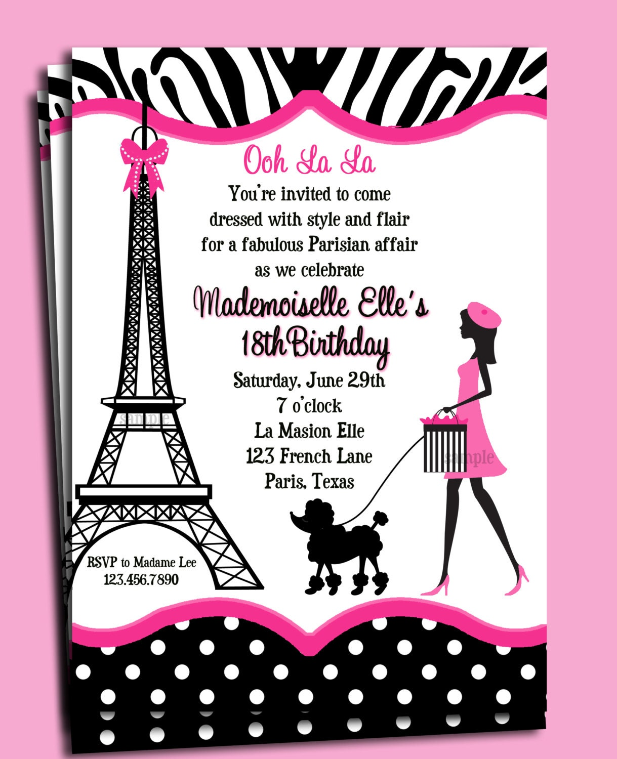 Paris Invitation Printable Or Printed With Free Shipping