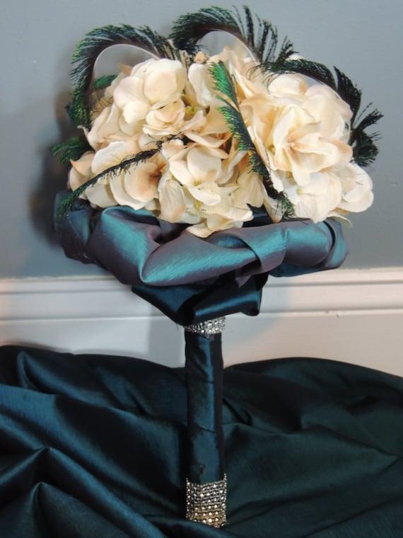 Hydrangea & Peacock Bouquet