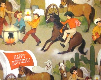 Vintage Wrapping Paper - Cowboy Birthday Juvenile Gift Wrap with matching card - One Sheet Hallmark