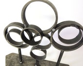 RESERVED - Atomic Sculpture, Industrial Sculpture, Reclaimed Steel Tabletop Sculpture, Rustic Modern, Industrial Art, Circles