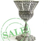 SALE 20% OFF- Artisan Chalice Wine Goblet Sterling Silver Filigree, Jewish holidays gift, wedding gift, Judaica- Free Express Shipping ID743