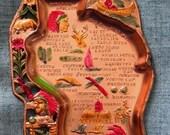 Vintage Wisconsin Souvenir Ashtray Dish Painted Tin Metal Retro