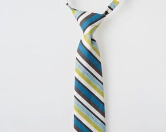 Boys Tie - Blue and Green Stripes - Childs Necktie