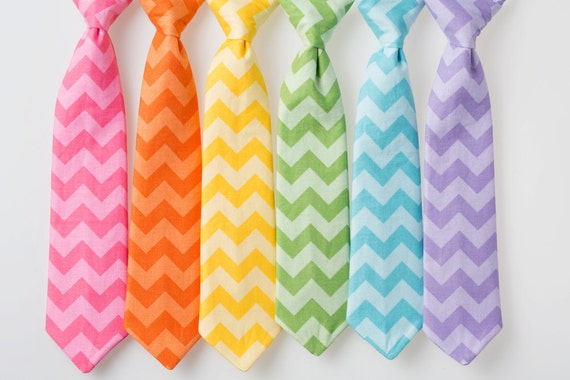 Boys Easter Ties - Tone on Tone Chevron - Pink, Orange, Yellow, Green, Blue, or Purple - Choose One