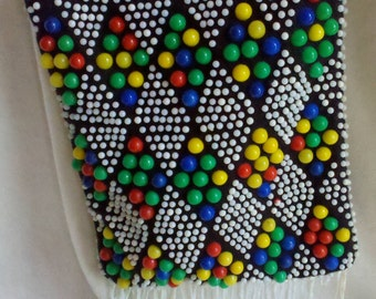 Vintage Fringed Mini Pouch with Multicolored Beads and Shoulder Strap