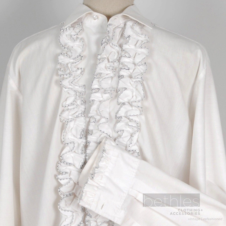 Mens tuxedo shirt white navy ruffle groomsman shirt vintage for Mens dress shirts with cufflink holes