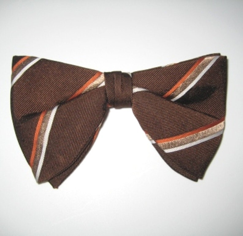 1970s Bow Tie Clip On Tie Clip On Brown Bow Tie Striped Bow