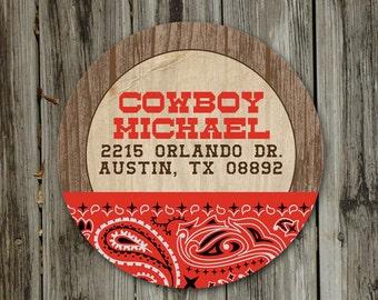 "Yee Haw Cowboy Birthday PRINTABLE 2"" Round Label Sticker - Return Address Label"
